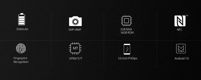 Blackview bv7000 Gold получил вполне стандартный экран 5 дюймов