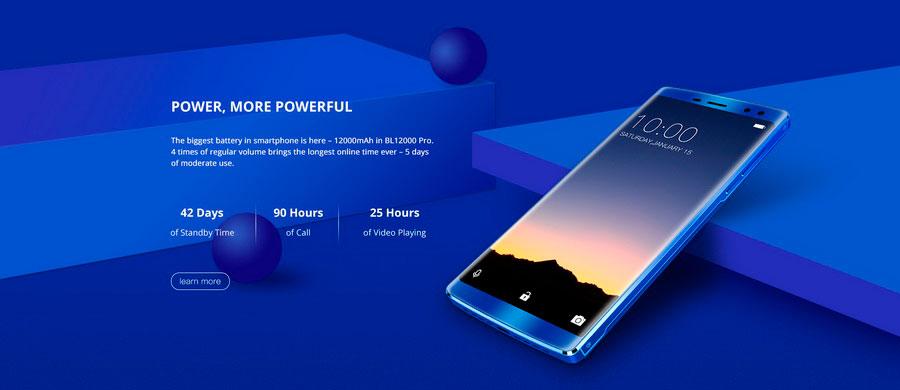 Doogee стала первой кто создал смартфон Doogee BL12000 Blue с аккумулятором 12000 мА/ч