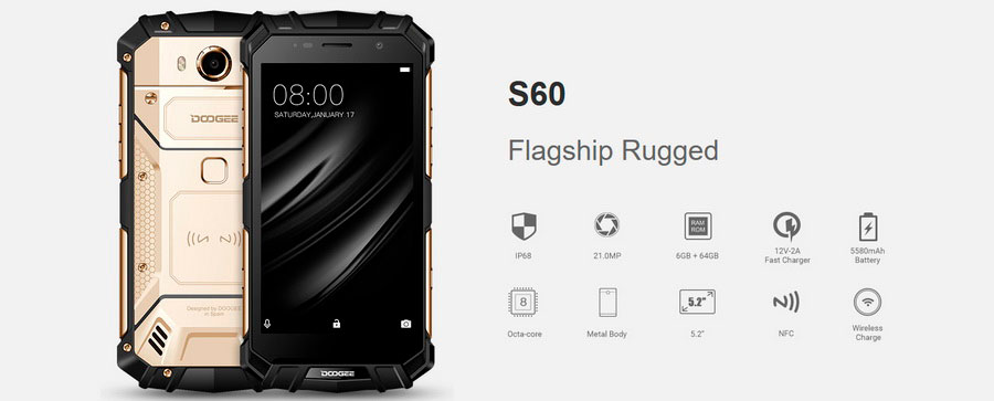 Защищённый Doogee S60 Black с 6 ГБ ОЗУ и батареей на 5580 мАч