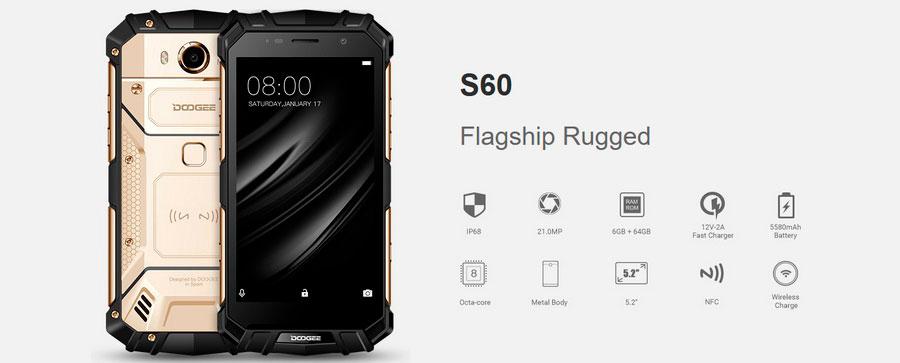 Защищённый Doogee S60 Silverс 6 ГБ ОЗУ и батареей на 5580 мАч