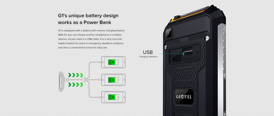 Защищенный смартфон с мощным аккумулятором 7500 мАч Geotel G1 Terminator