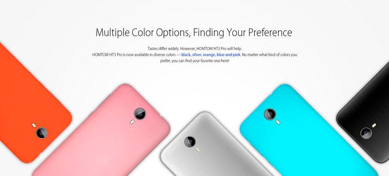 Homtom HT3 Pro модель представлена в 5-ти цветах