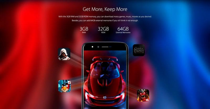 Homtom HT50 Royal Blue 3Gb RAM 32Gb ROM смартфон парадует вас производительностью