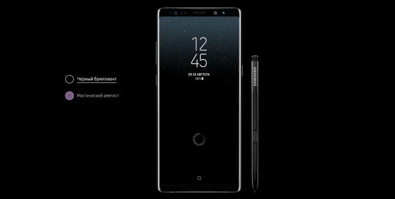 Копия Samsung Galaxy Note 8 Midnight Black представлена в 4-ч цветах