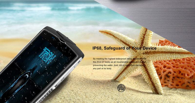 ZOJI Z7 смартфон имеет защиту от пыли, воды и грязи