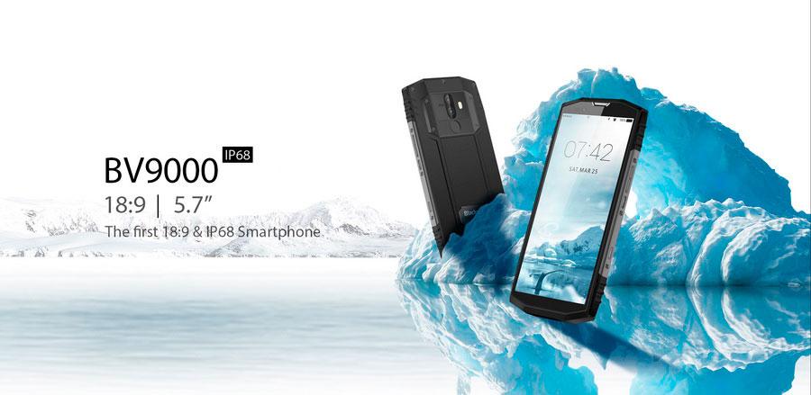 Blackview BV9000 Ice Silver (4Gb RAM 64Gb ROM) имеет достаточно для защищённого смартфона тонкие рамки вокруг дисплея.