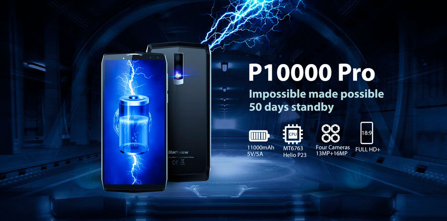 Blackview P10000 Pro Mirror Silver на борту имеет  11000 мАч батарею, дисплей 18:9 и четыре камеры