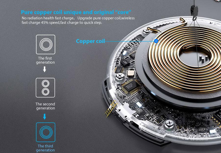 Беспроводная зарядка Blackview W1 black черная 10Вт, Выход: 5 В 2A/9 В 1.67A