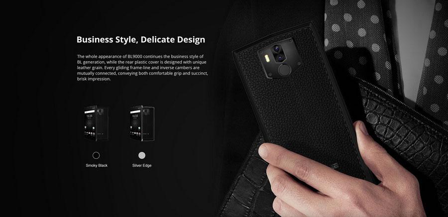 Doogee BL9000 Smoky Black выполнен в необычном дизайне