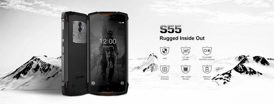 Doogee S55 Black появился в 2018 году, как один из самых интересных защищённых смартфонов