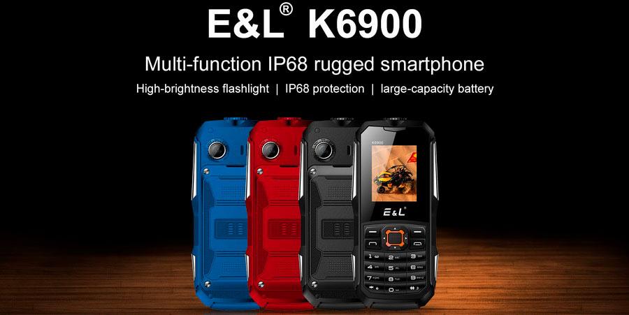 EL K6900 Четырехдиапазонный разблокированный телефон с защитой от ударов падений и воды IP68