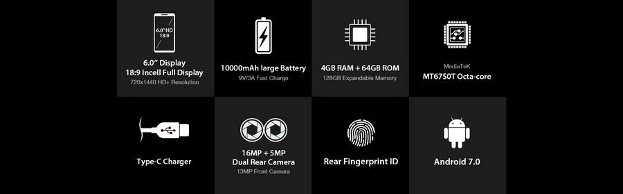 HomTom HT70 - самый тонкий полноэкранный смартфон с аккумулятором на 10000 мач