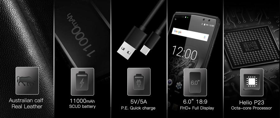 Oukitel K10 Black (6Gb RAM 64Gb ROM) смартфон с аккумулятором ёмкостью 11000 мАч