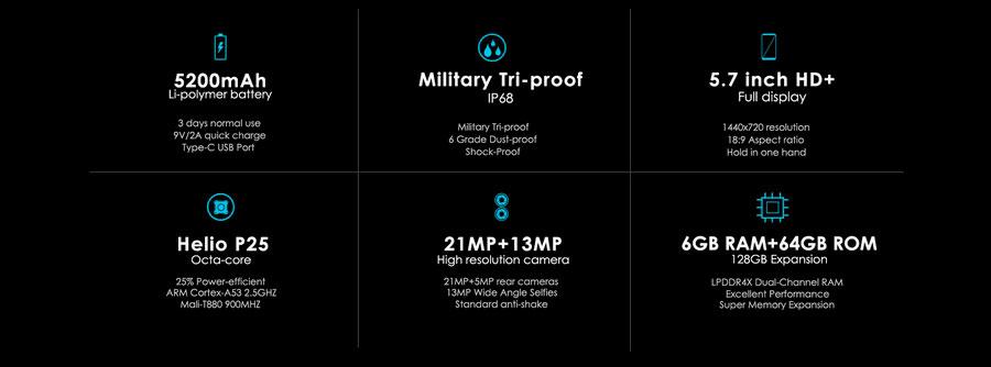 Защищенный смартфон Oukitel WP5000 Black получил 6 ГБ ОЗУ