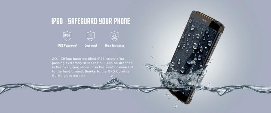 Смартфон HomTom ZOJI Z9 Green не боится воды и пыли