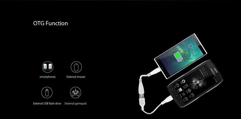 Blackview BV7000 Pro Stardust Grey смартфон поддерживает функцию otg