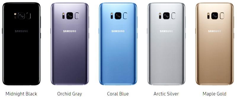 Samsung Galaxy S8 копия имеет такие же цвета как и оригинал