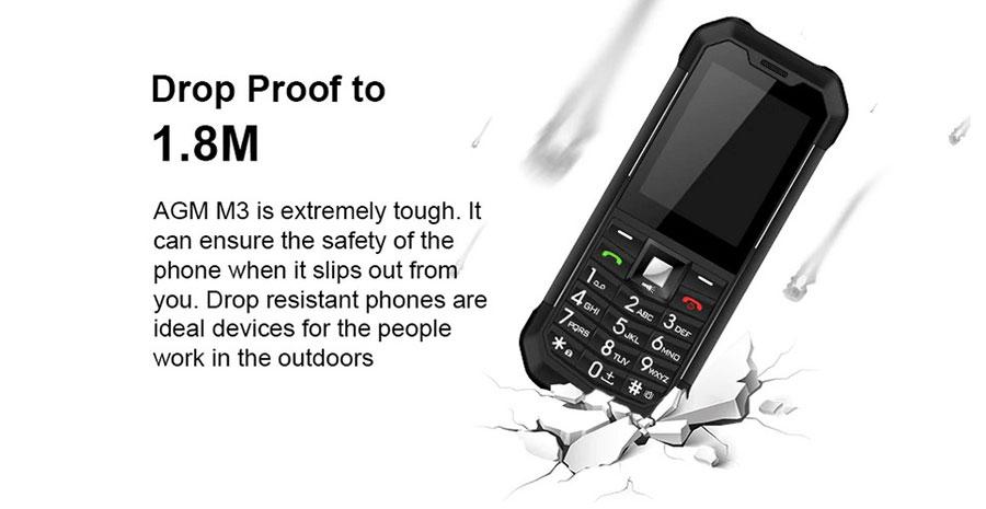 Кнопочный телефон AGM M3 с защитой от ударов и падений с высоты до 1,8 метра