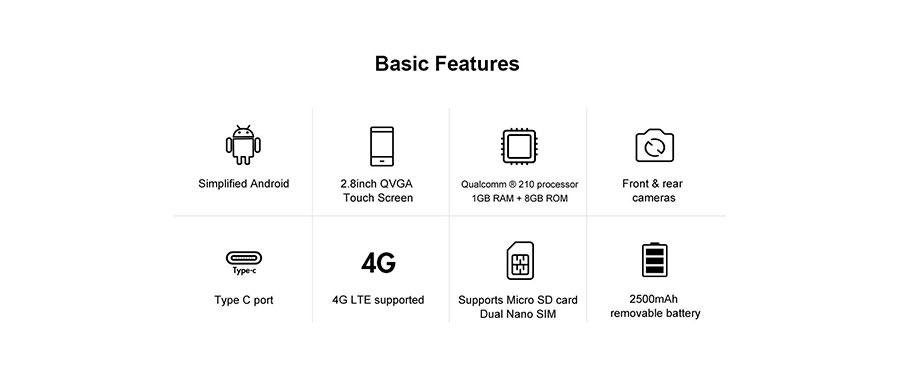 AGM M5 (Android, 4G) Black звонилка на Андройде с большим сенсорным экраном 2,8 Дюйма
