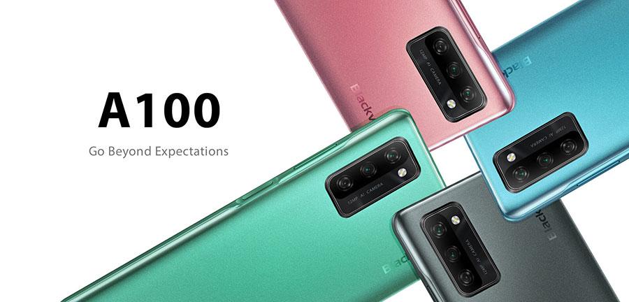 Blackview A100 6/128Gb Green смартфон имеет четыре фотомодуля в левом верхнем углу задней панели, боковой сканер отпечатков пальцев, стилизованная под металл окантовка
