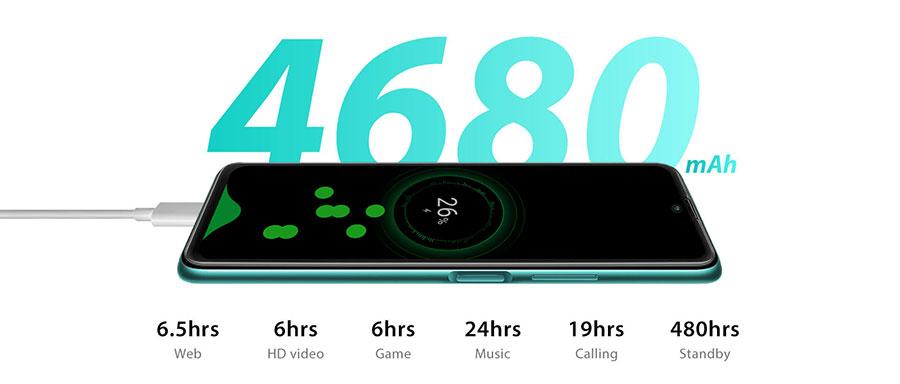 Blackview A100 6/128Gb Green с аккумулятором емкостью в 4680мАч придется заряжать только раз в 2-3 дня