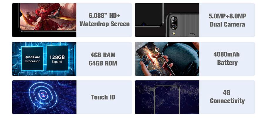 Blackview A60 Plus (4/64Gb) Black бюджетный смартфон с неплохой батарейкой, приличным количеством памяти