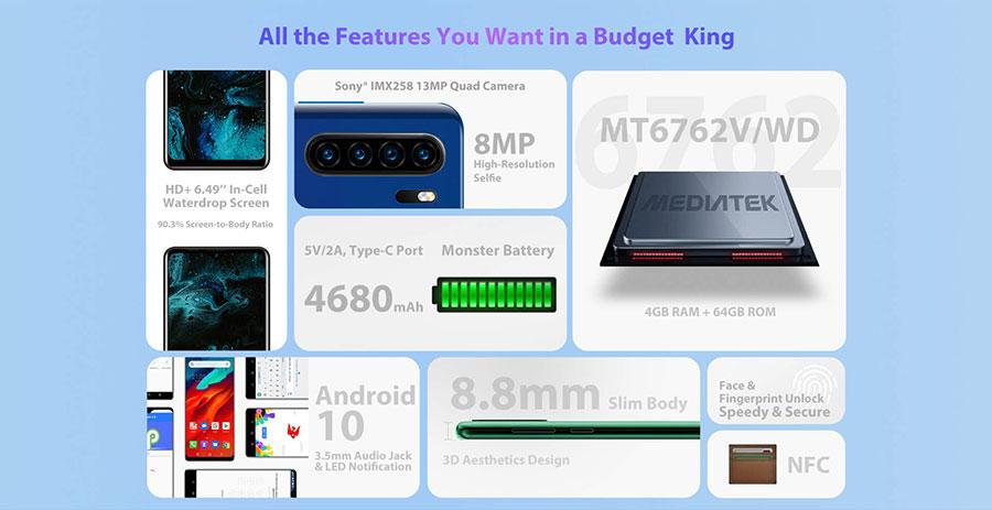 Blackview A80 Plus (4/64Gb) Black оснащен чипсетом Mediatek MT6762V, 4 GB оперативной памяти и 64 GB встроенной памяти.