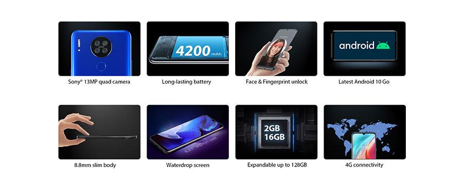 Blackview A80 2/16Gb Black имеет 6,21 дюймов IPS-дисплей с разрешением 720 x 1520 px