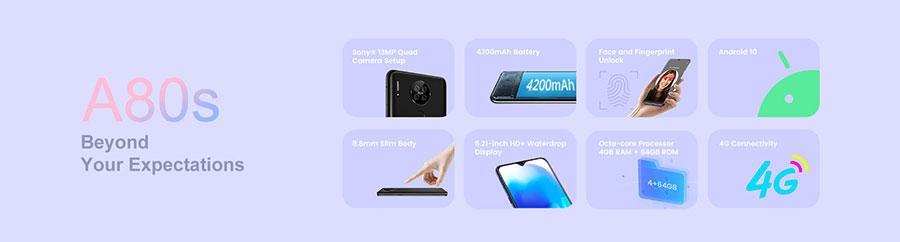 Blackview A80s 4/64Gb Blue прекрасные параметры и мощный аккумулятор в дешевом смартфоне