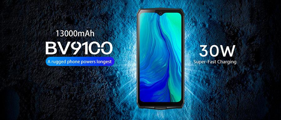 Blackview BV9100 6.3 inch 1080x2340 4G Rugged Smartphone MT6765 4GB+64GB IP68 Waterproof Cellphone 13000mAH 30W Fast Charging 16.0MP
