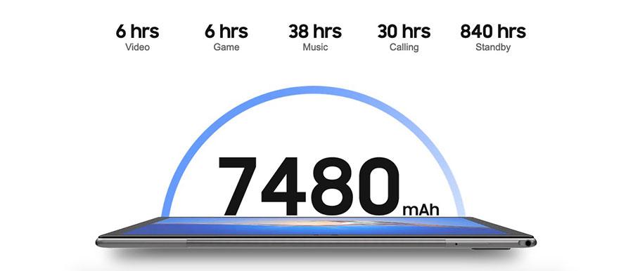Blackview Tab 9 4/64Gb Gray комплектоваться устройство будет 4 ГБ оперативной памяти, хранилищем на 64 ГБ, батареей емкостью 7480 мАч