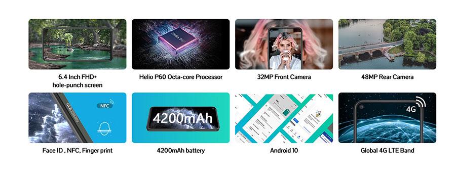 Cubot C30 8/128Gb Black получил 6,4-дюймовый дисплей разрешением 1080 х 2310 пикселей, а также квадрокамеру