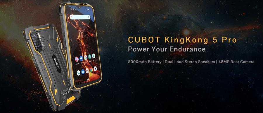 Cubot King Kong 5 Pro 4/64Gb Orange оснастили батареей ёмкостью 8000 мАч, стереодинамиками, защитой в соответствии со степенями IP68 и IP69K, а также американским военным стандартом MIL-STD-810G