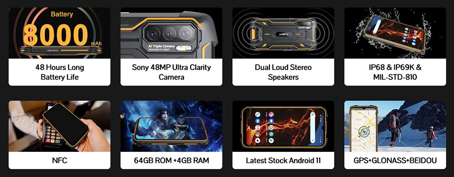 Cubot King Kong 5 Pro 4/64Gb Orange is waterproof, dustproof, and drop-proof. It hosts 4GB+64GB of storage