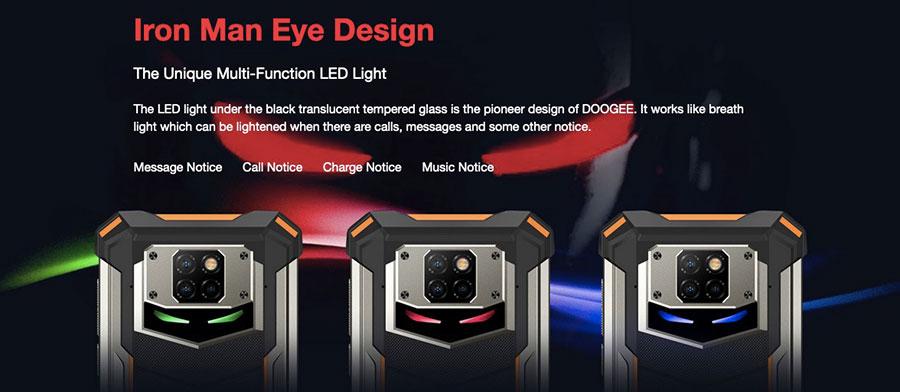 Doogee S88 Pro (6/128GB, АКБ 10000мАч) Black на задней части выступает массивная металлическая вставка, на которой расположена система, состоящая из трех камер и двойной вспышки.