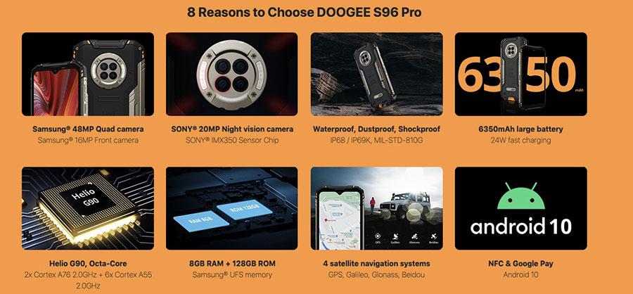 Doogee S96 Pro задняя сторона украшена рельефным дизайном и круглым модулем под квадрокамеру