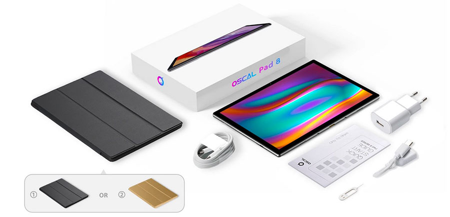 Oscal Pad 8 4/64Gb Gray коплектация планшета с чехлом и клавиатурой