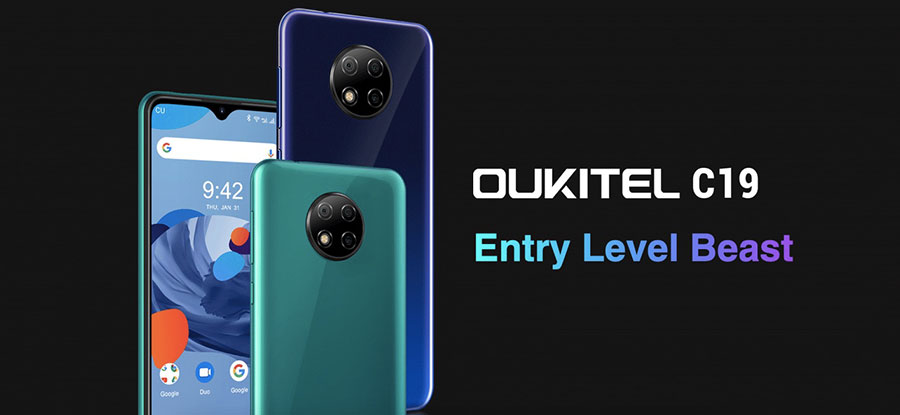Oukitel C19 2/16Gb Blue получил 6,49-дюймовый IPS экран с разрешением HD+ (1560×720)