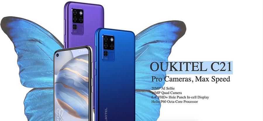 Oukitel C21 4/64Gb Black оснащен 6,4-дюймовым дисплеем с разрешением Full HD+, в левом верхнем углу экрана предусмотрено отверстие под фронтальную камеру с разрешением 20 МП