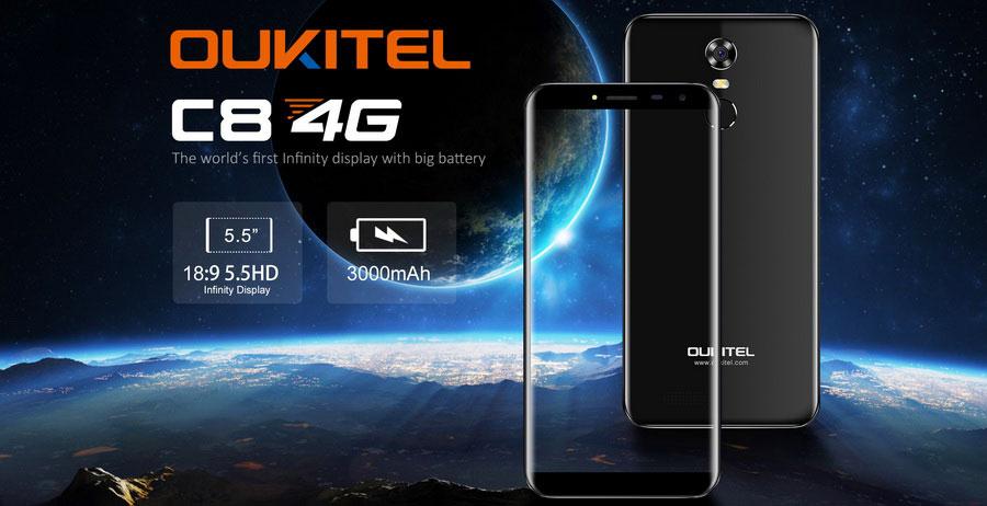 oukitel c8 4g midnigh black обновленная модель с поддержкой 4G