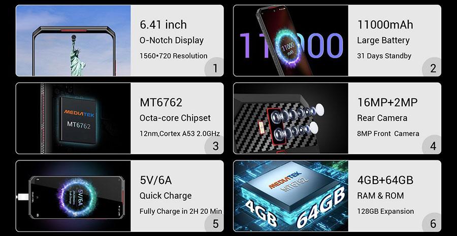 Oukitel K13 Pro 4/64GB Leather Black поддерживает 3G и 4G