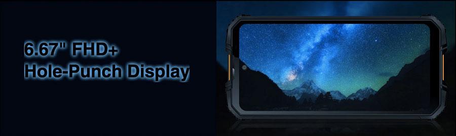 oukite wp10 5g имеет экран 6,67 Дм и разрешение FHD+