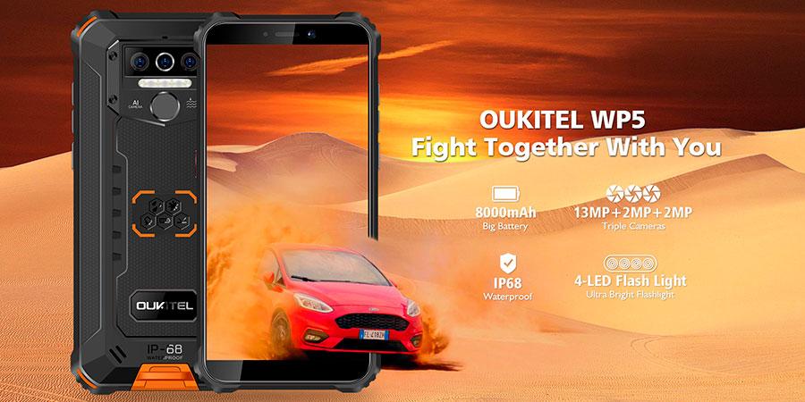 Oukitel WP5 3/32GB Orange оснащен однокристальной системой MT6761 с поддержкой 4G, экраном диагональю 5,5 дюйма разрешением 1440 х 720 пикселей