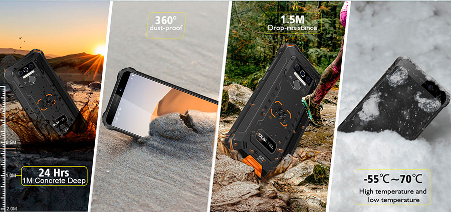 Oukitel WP5 3/32GB Orange смартфон является пыле и влагонепроницаемым, он имеет степень защиты IP68, а также выполнен в ударопрочном корпусе, который выдерживает падения с высоты 1,5 на твердую поверхность. Экран защищает стекло Corning Gorilla Glass.