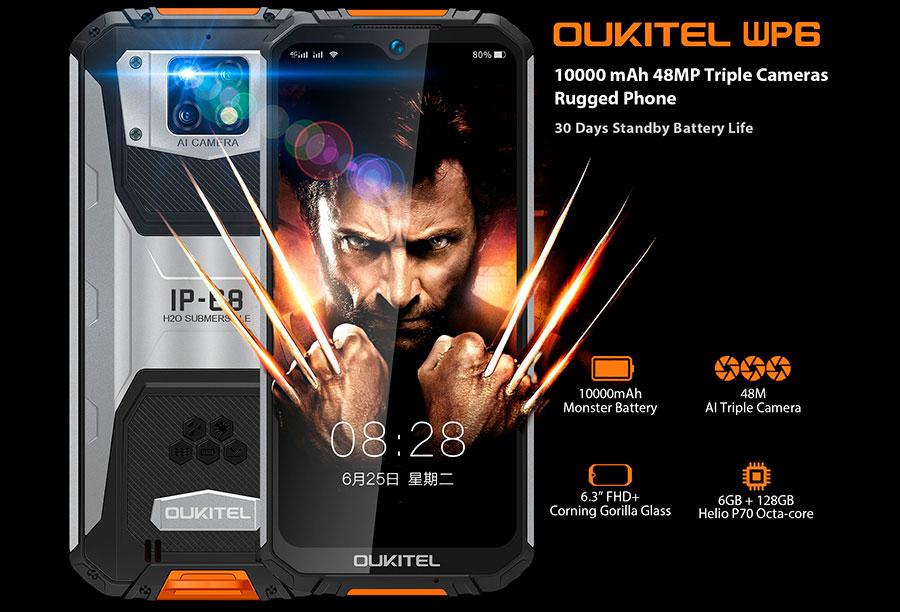 Oukitel WP6 6/128GB Orange мощнейщий защищенный смартфон с огромным аккумулятором новинка 2020 года