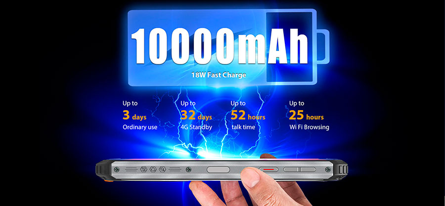 Oukitel WP6 6/128GB Orange емкость аккумулятора в этом противоударном телефоне потрясает целых 10000 мАч