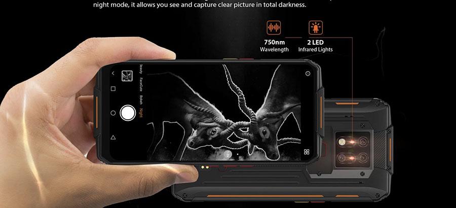 Oukitel WP7 8/128GB Black камера на основе инфракрасного датчика с функцией ночного видения, ультрафиолетовый стерилизатор, а также мощный фонарик Ultra Flashlight и аккумулятор емкостью 8000 мАч.