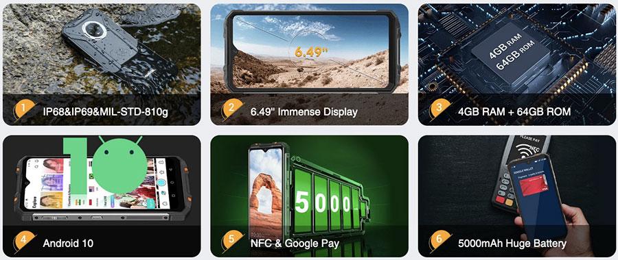 Oukitel WP8 Pro 4/64GB Orange ip69k устройство также может работать в условиях высокотемпературной мойки под воздействием высокого давления воды