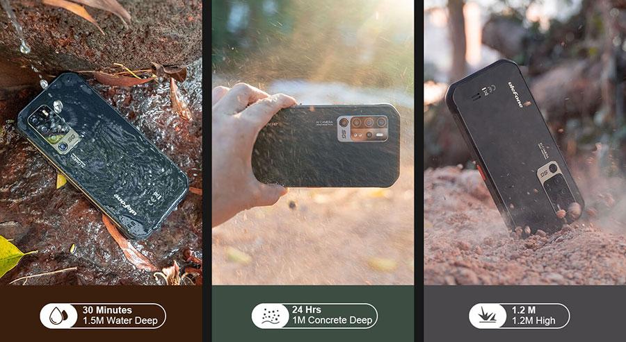 Ulefone Armor 11 5G 8/256Gb Black соответствует степеням защиты IP68/IP69K и требованиям американского военного стандарта MIL-STD-810G