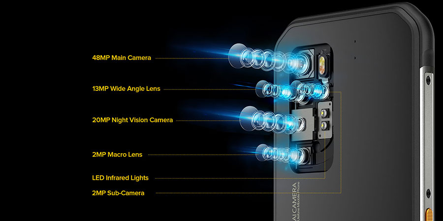 Ulefone Armor 11 5G 8/256Gb Black оснащен профессиональной камерой с 5 объективами: основной 48МП + ночной 20МП + широкоугольный 13МП + макро 2МП + вспомогательный 2МП